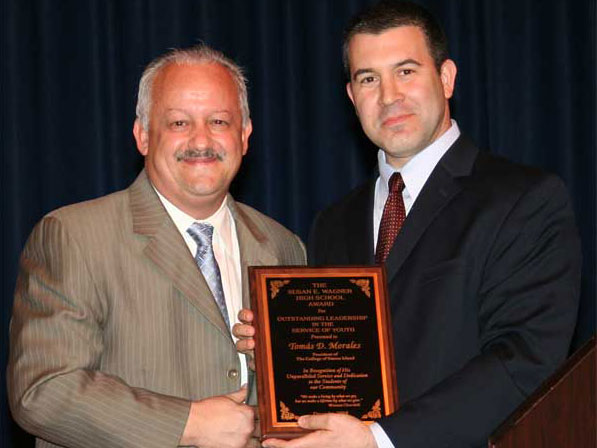 President Morales was presented with the Educational Leadership in the Service of Youth Award.