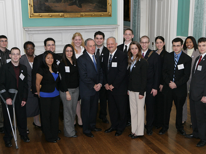Sixteen CSI students and President Tomás Morales had breakfast with Mayor Bloomberg at City Hall.