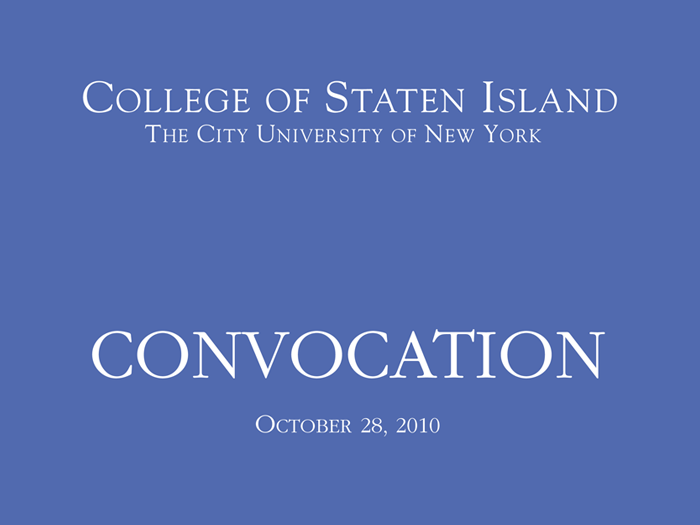 Pres. Morales celebrated the achievements of College faculty and staff at the 2010 Convocation.