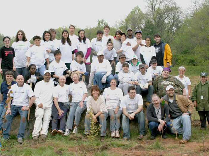 Nearly 130 volunteers, one of the largest groups citywide, planted 750 trees at CSI in 4 hours.
