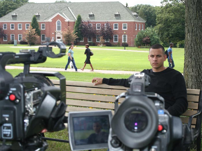Student and U.S. Army Vet Daniel Castillo as he was interviewed by the mtvU Channel on campus today