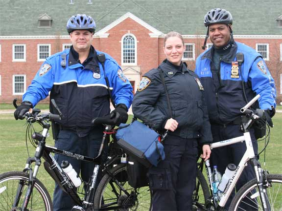 L-R: CSI Public Safety Officers Gregory Rodriguez, CPO; Laura Devine, EMT; and Sgt. Kevin Myers