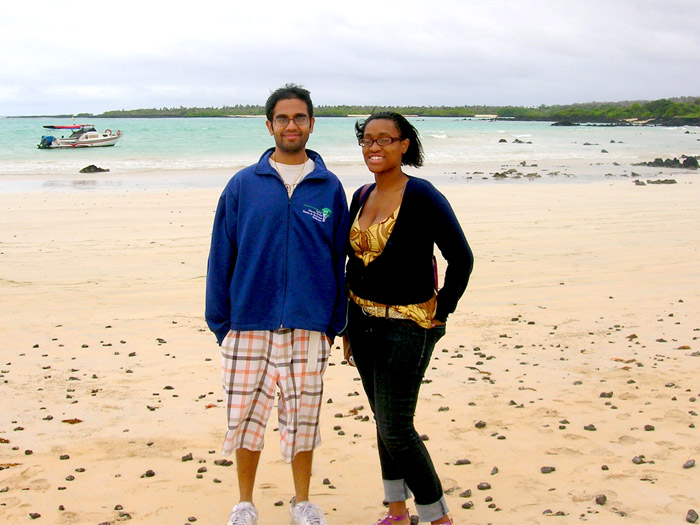 Alvin Hillary and Deja Latrese Mullings on a Galapagos Beach