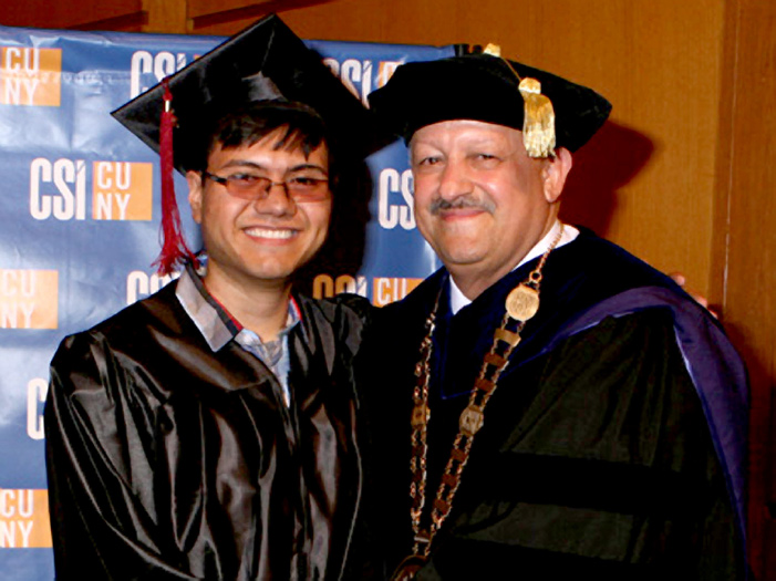Gerald Gallardo (with President Dr. Tomás Morales) was the first recipient of the music scholarship.
