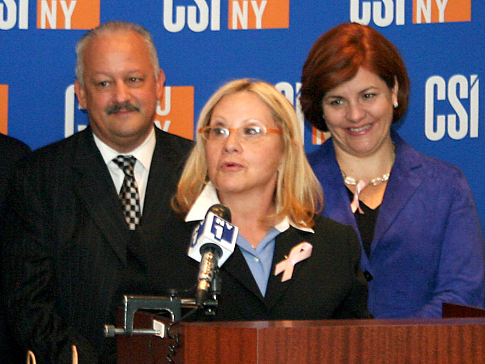 (l to r) CSI President Tomás Morales, Prof. Donna Gerstle, and Council Speaker Christine C. Quinn