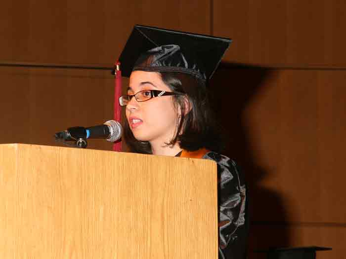 Graduating Senior Dorothy Caldone gives the student speech at the second annual Honors Convocation.