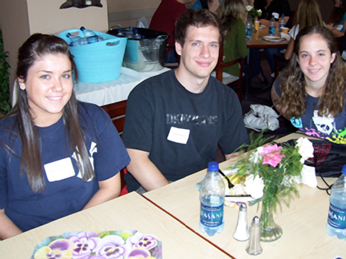 [L-R] Christina Vicidomini, Nicholas Gonzalez, and Meagan Derbyshire enjoy brunch in the Park Café.