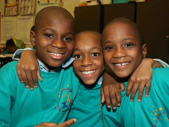 Mohamed, Jamelle, and Jakari, three PS 57 Strategies for Success students, at yesterday's event.
