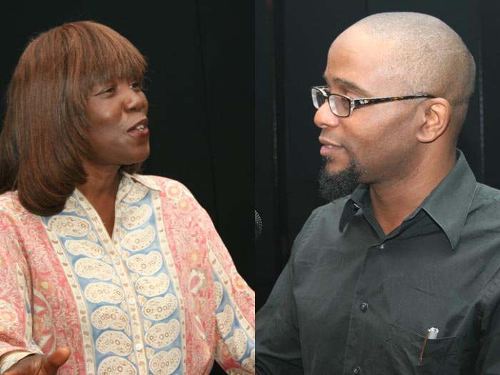CSI faculty members Patricia Smith and Tyehimba Jess read poetry at the CSI Campus Memorial Service.